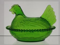 "emerald glasses | Indiana Glass Company ""Hen-on-Nest"" Dishes"
