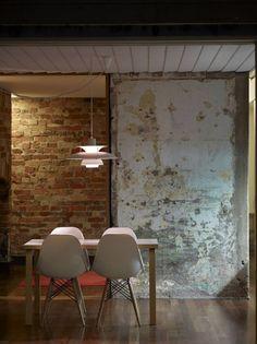 interior design, kitchen interior, exposed brick