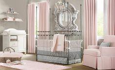 Elegant pink white gray baby girl room