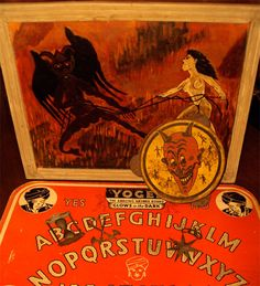 Vintage Ouija boards and weird devil art at Black Gold Brooklyn, Coffee & Antiques.