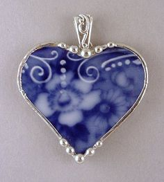 blue flowers, heart jewelry, blue china, necklac, heart pendant, blue heart, broken china, deep blue, antiques