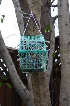 DIY:  Baskets with yarn for the birds to help build their nests - Super easy and fun for kids to make, too!