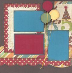 layout idea, birthday scrapbook layouts, scrapbook idea, scrapbook layouts birthday, 3 photo scrapbook layouts