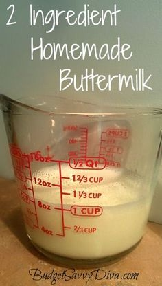 cook, 2 ingredients, cups, homemad buttermilk, food, juices, inexpens, homemade vinegar, homemade buttermilk