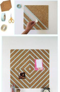 cork board crafts, cork board designs, cork boards, masking tape