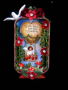 tin box shadow box, tin art, valentine box, romant valentin, valentin box