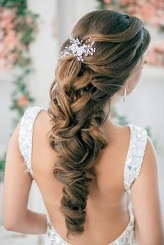 So pretty!!!  Half Up Half Down Curly Wedding Hairstyles With Silver Plated Rhinestone Crystal Hair Comb
