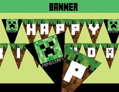Complete your decoration with this Happy Birthday banner, perfect for a Minecraft themed party! #cupcakemakeover