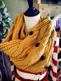 Another color of the button infinity scarf! #Mustard #UrbanesqueBoutique