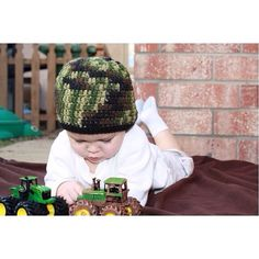 Crochet Camo Beanie Hat in Green or Pink newborn by straighthookin