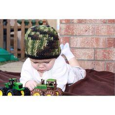 Crochet Camo Beanie Hat in Green or Pink newborn by straighthookin