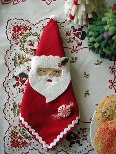 tutorials, betz white, napkin rings, napkins, christma felt, christma idea, napkin holders, christma craft, santa napkin