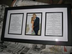 Choose and frame your favorite wedding photo along with your typed or handwritten vows. It's a beautiful reminder of the commitment you made to each other on that day, and a great way to celebrate your journey as a newly married couple.