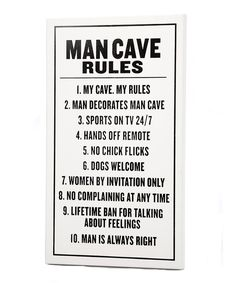 'Man Cave Rules' Sign