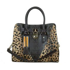 Michael Kors Logo Signature Leopard Large Coffee Totes $67.99