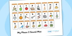 Twinkl Resources >> Phase 2 Sound Mat >> Printable resources for Primary, EYFS, KS1 and SEN.  Thousands of classroom displays and teaching aids! Literacy, English, Letters and Sounds, Sound Mat