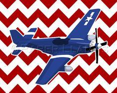Baby boy nursery art  airplane art print  P51 by PaperLlamas, $14.00