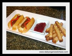 Fake Hot Dogs & Fries - April Fool's Day Prank Meal.     *Twinkies      *Giant Tootsie Roll      *Red Wires or Twizzlers      *Pound Cake      *Sugar      *Strawberry Jam