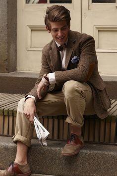 Brown Tweed Jacket, Khaki Chinos, Bow Tie,