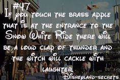Disneyland Secret # 47: If touch the brass apple that is at the enttrance to the Snow White Ride there will be a loud clap of thunder and the witch will cackle with laughter