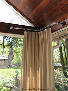 Porch curtains only in the corner of Denise's porch (The Painted Home)