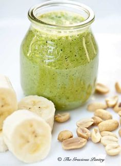 Clean Eating Peanut Butter And Banana Smoothie  www.TheGraciousPantry.com