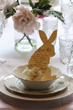 My Sweet Savannah~Make these cute bunny menus with carnation tails this Easter!