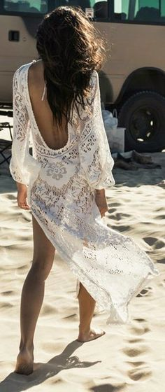 White Lace Backless Beach Cover Up