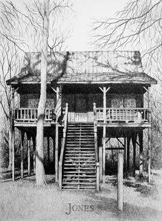 Commissioned Piece  Pencil drawing of family hunting cabin in South alabama, by artist, Joe Belt