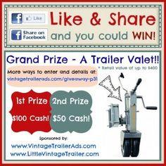 Win cash or a Trailer Valet. To enter visit: http://www.vintagetrailerads.com/giveaway-p31