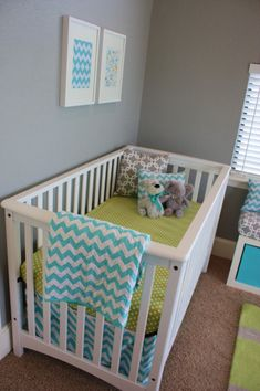 grey boy nursery | Aqua, Gray, & Green Baby Boy Nursery - Project Nursery