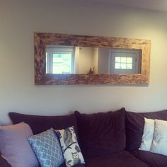 DIY pallet mirror. Total cost $12. Needed: 1 frameless fashion mirror, 1 large pallet, 1 mirror mounting kit and 4 screws.