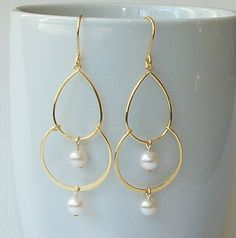 Gold and Pearl chandelier Earrings Pearl Dangle by PeriniDesigns, $19.00