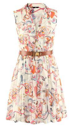 Floral Belt Chiffon Dress - Sheinside.com