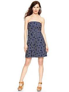 Dot print strapless dress
