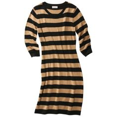 Merona® Womens Stripe Long Sleeve Sweater Dress -Black/Tan