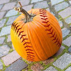 cool decor, holiday, basebal pumpkin, softball craft ideas, baseball pumpkin, fall, pumpkins, sport, halloween