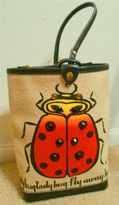 "RARE! Vtg 60s ENID COLLINS TEXAS ""Lady Bug Fly Away Home"" POUCH Bucket Bag Purse"