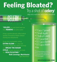 Drinking celery for better health.