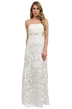 The Floral Applique Gown in Ivory by Sue Wong at CoutureCandy.com