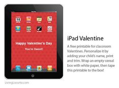iPad Valentine Box Free Printable