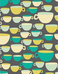 Coffee Mugs Art Print (by Rachel Gresham)