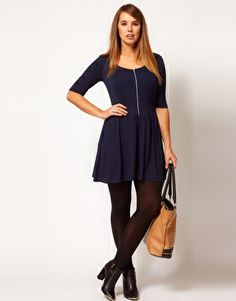 ASOS  Skater Dress with Zip Front