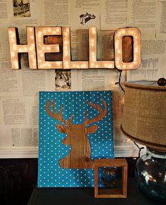 decor, letter sign, deer art, diy crafts, deer heads