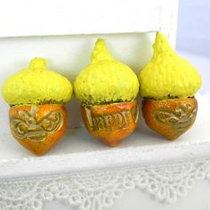 3 Happy Little Bee Acorn Decorations  Handmade by LavaGifts, $9.00