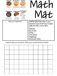 FREEBIE!  A Math Mat to use with ANY type of those yummy Girl Scout Cookies!