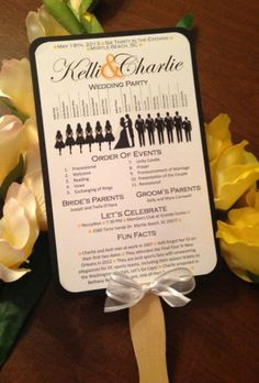 wedding program with bridal party silhouettes