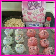 I don't even know what to call these things! So good though. Just crush up 2 bags circus animal cookies (best to use a food processor). Mix in 8 oz cream cheese with the crushed cookies. Form into balls and dip into melted white chocolate. Sprinkle with rainbow nonpareil.  Refrigerate approx. 10 min. to let chocolate harden.