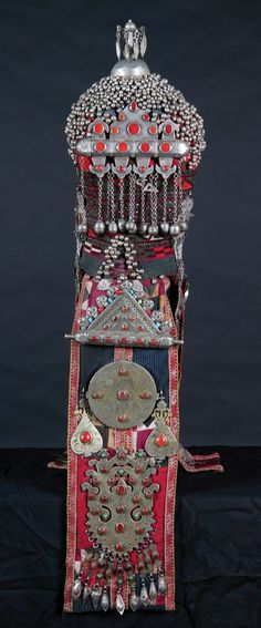 Central Asia | This headdress was an intricate and varied element of Central Asian female dress as it manifested a woman's marital (worn at her wedding) and social status at ceremonies. | Embroidered cotton base with applied silver ornamentation | ca. 18th century; 12th century AH (Islamic calender)