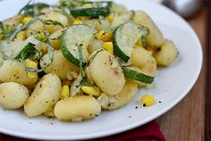 Quick & Easy Crispy Gnocchi with Zucchini, Sweet Corn and Basil | iowagirleats.com